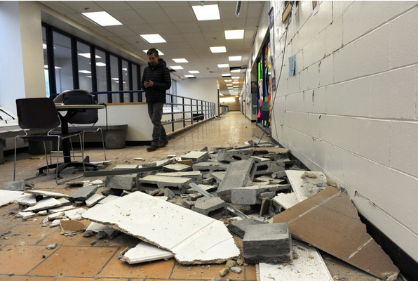 earthquake damage at school