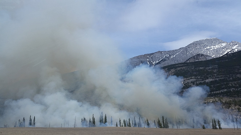 wildfires by the mountains