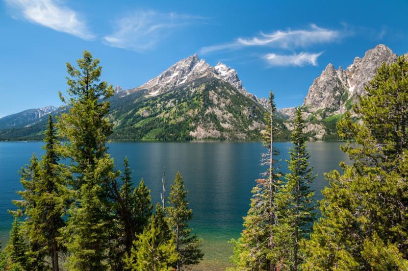Alaskan lakeside with mountains