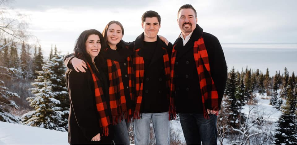 matching outfit winter family photo